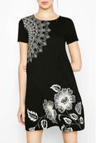 Desigual Black Midi-Floral Dress