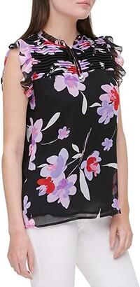 Calvin Klein Sleeveless Printed Blouse w/ Neck Tie Top (Black Wisteria Multi) Women's Clothing