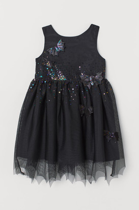 H&M Tulle Dress with Appliques - Black