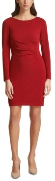 Jessica Howard Ruched Metallic Sheath Dress