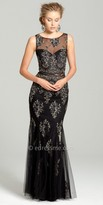 Camille La Vie Illusion Lace Applique Evening Dress