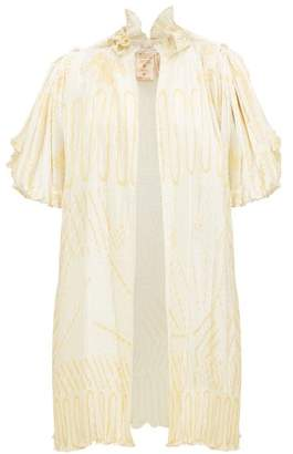 Zandra Rhodes William Vintage Silkscreened Pleated-satin Jacket - Womens - Ivory