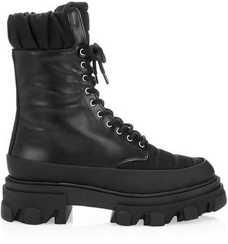 Ganni Lug-Sole Quilted & Leather Combat Boots