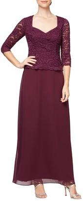 Alex Evenings Sequin Lace Mock Two-Piece Gown