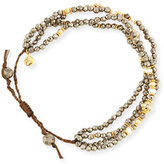 Tai Faceted Pyrite Silk Cord Bracelet