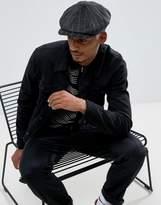 Asos Baker Boy Hat In Textured Stripe Melton