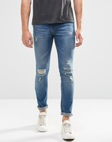 Pull&bear Super Skinny Jeans In Mid Wash With Rips