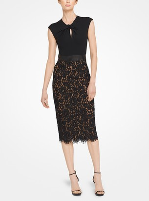 Michael Kors Floral Lace and Plonge Sheath Dress