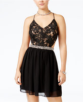 City Studios Juniors' Lace Open-Back A-Line Dress