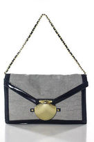 Felix Rey Blue Canvas Leather Trimmed Gold Tone Shell Envelope Shoulder Handbag