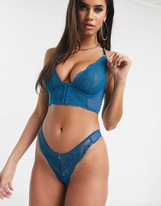 Gossard Superboost lace longline bra in teal