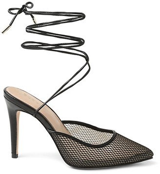 BCBGeneration Hendri Ankle-Tie Fishnet Pumps
