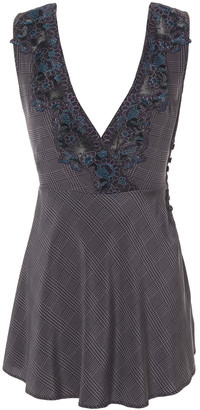 La Perla Castle Garden Belted Embellished Checked Stretch-silk Chemise