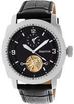 Heritor Automatic Men's Watches Silver/Black - Silver & Black Helmsley Semi-Skeleton Leather-Strap Watch