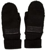 Chanel Leather-Trimmed Shearling Mittens