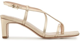 Schutz Crossover Strap Metallic Sandals