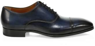 Saks Fifth Avenue Burnished Leather Cap Toe Dress Shoes