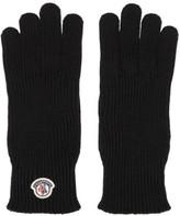 Moncler Black Wool Logo Gloves