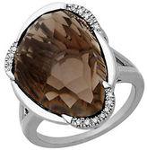 Lord & Taylor Smokey Quartz and Diamond Sterling Silver Ring