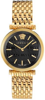 Versace Twist Black Sunray Dial Gold Stainless Steel Bracelet Ladies Watch