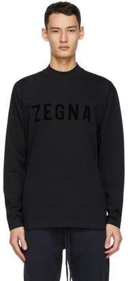 Fear of God Ermenegildo Zegna Black Oversized Logo Long Sleeve T-Shirt
