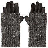 Carolina Amato Cable Knit Leather Combo Gloves