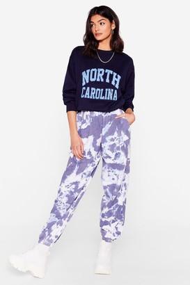 Nasty Gal Womens Tie Dye Do You Care High-Waisted Joggers - Blue - S