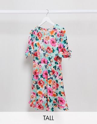 Brave Soul Tall bimba mini dress with ruffle hem in floral print
