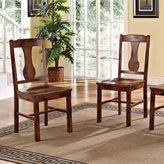 Walker Edison Rustic Dark Oak Wood Dining Chairs (Set of 2)
