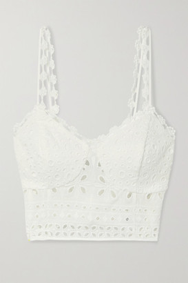 Charo Ruiz Ibiza Anne Cropped Broderie Anglaise Cotton-blend Top - White