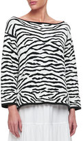 Joan Vass Reversible Animal Print Pullover Sweater, Petite