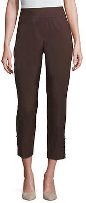 Worthington Womens Mid Rise Slim Fit Ankle Pant, X-small , Brown