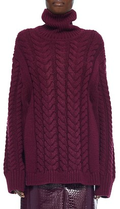 Tibi Cable Knit Open Back Turtleneck Sweater