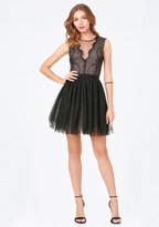 Bebe Lace & Net Puff Skirt Dress