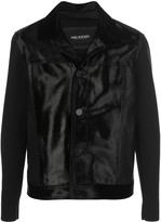 Neil Barrett wool and leather button up jacket