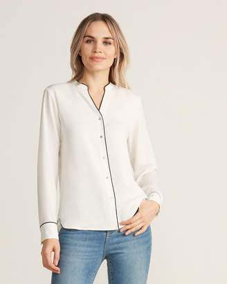 Calvin Klein Cream & Black Split Neck Long Sleeve Top