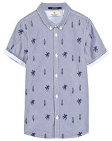 Scotch Shrunk Striped and Palm Tree Embroidered Shirt