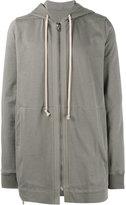 Rick Owens Grey Zip Up long length hoodie - men - Cotton - S