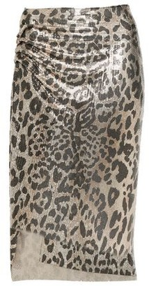 Paco Rabanne Ruched Leopard-print Chainmail Skirt