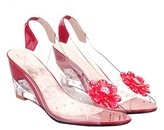 clear Butiti BUTITI Women's Sandals red - Red & Flower-Accent Wedge Slingback - Girls & Women