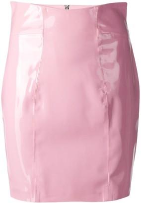 Philipp Plein Curved High Waist Fitted Skirt