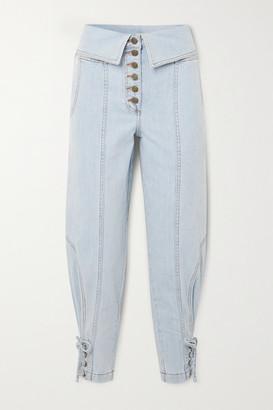 Ulla Johnson Kingston Lace-up Fold-over High-rise Tapered Jeans - Light denim