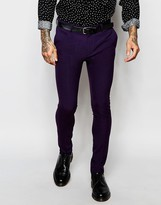 Asos Super Skinny Suit Trousers In Purple