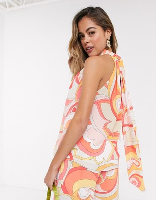 Morgan high neck blouse in coral swirl print