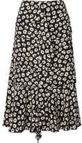 Proenza Schouler Ruffled Floral-print Silk Crepe De Chine Midi Skirt - Black