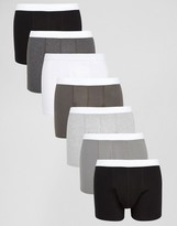 Asos Trunks In Monochrome 7 Pack