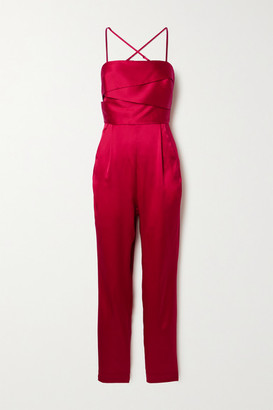 Mason by Michelle Mason Draped Silk-satin Jumpsuit - Red