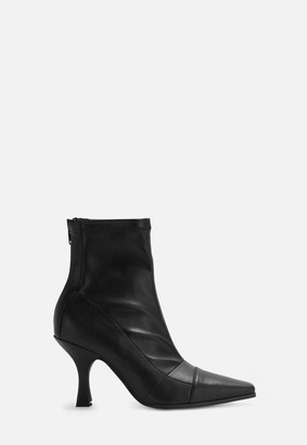 Missguided Black Faux Leather Snip Toe Boots
