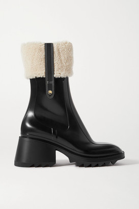 Chloé Betty Shearling And Leather-trimmed Rubber Ankle Boots - Black