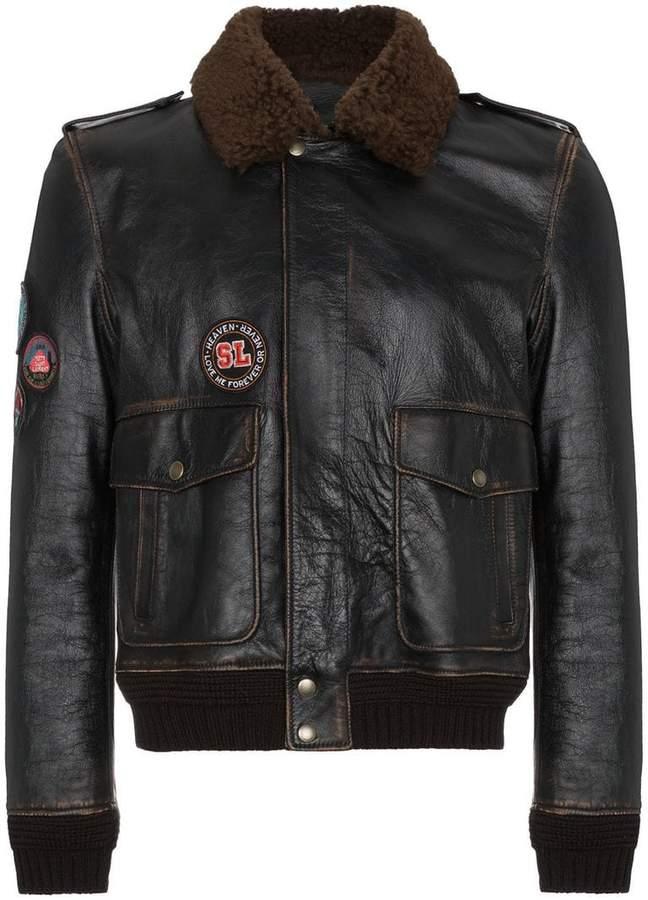 Saint Laurent Leather flight jacket with patches